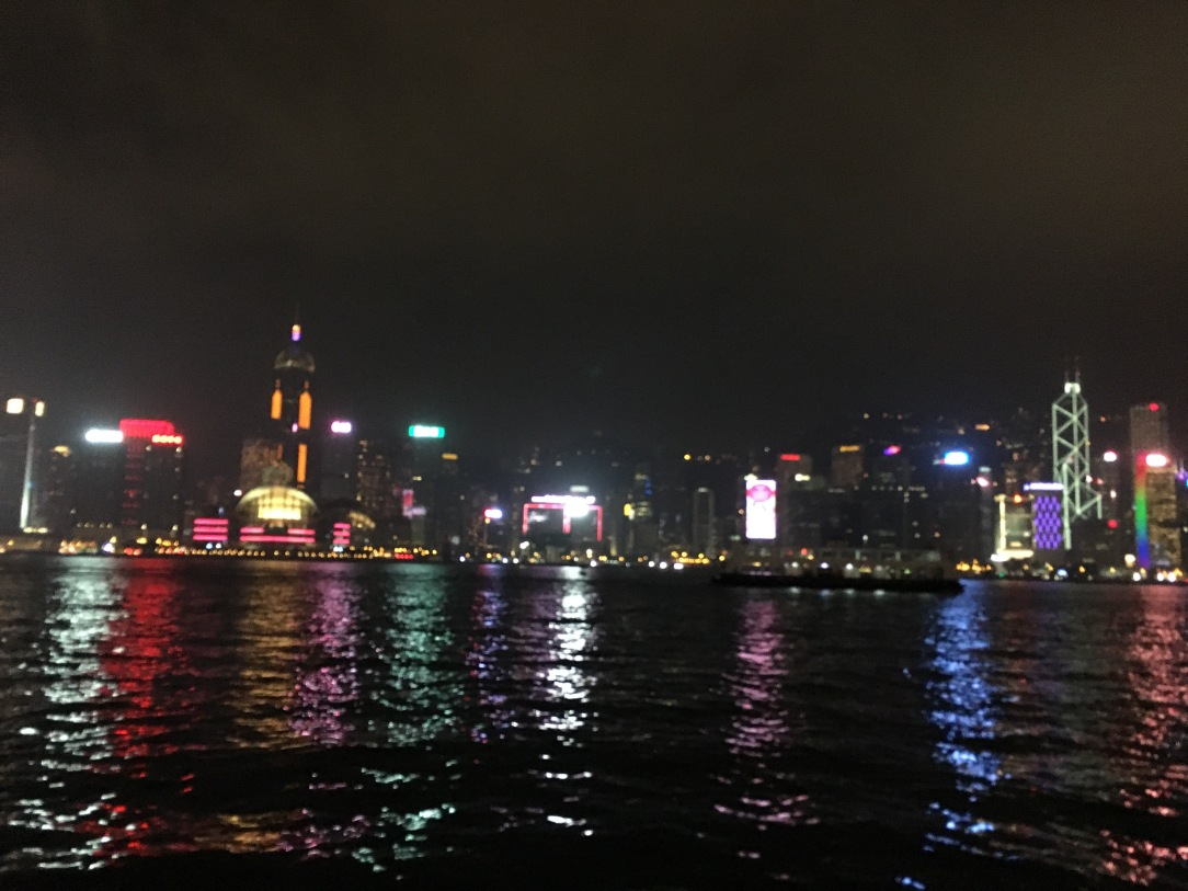 Victoria harbour night view , Hong Kong Trip with toddler, Hong Kong family travel blog