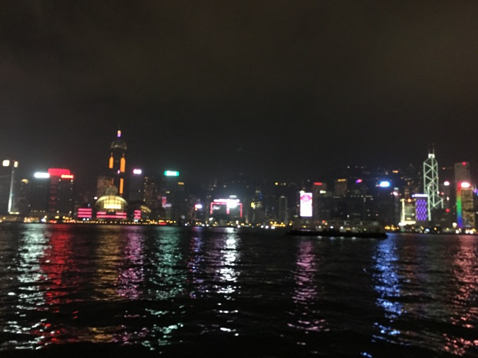 Victoria harbour night view , Hong Kong Trip with toddler, Hong Kong family travel blog
