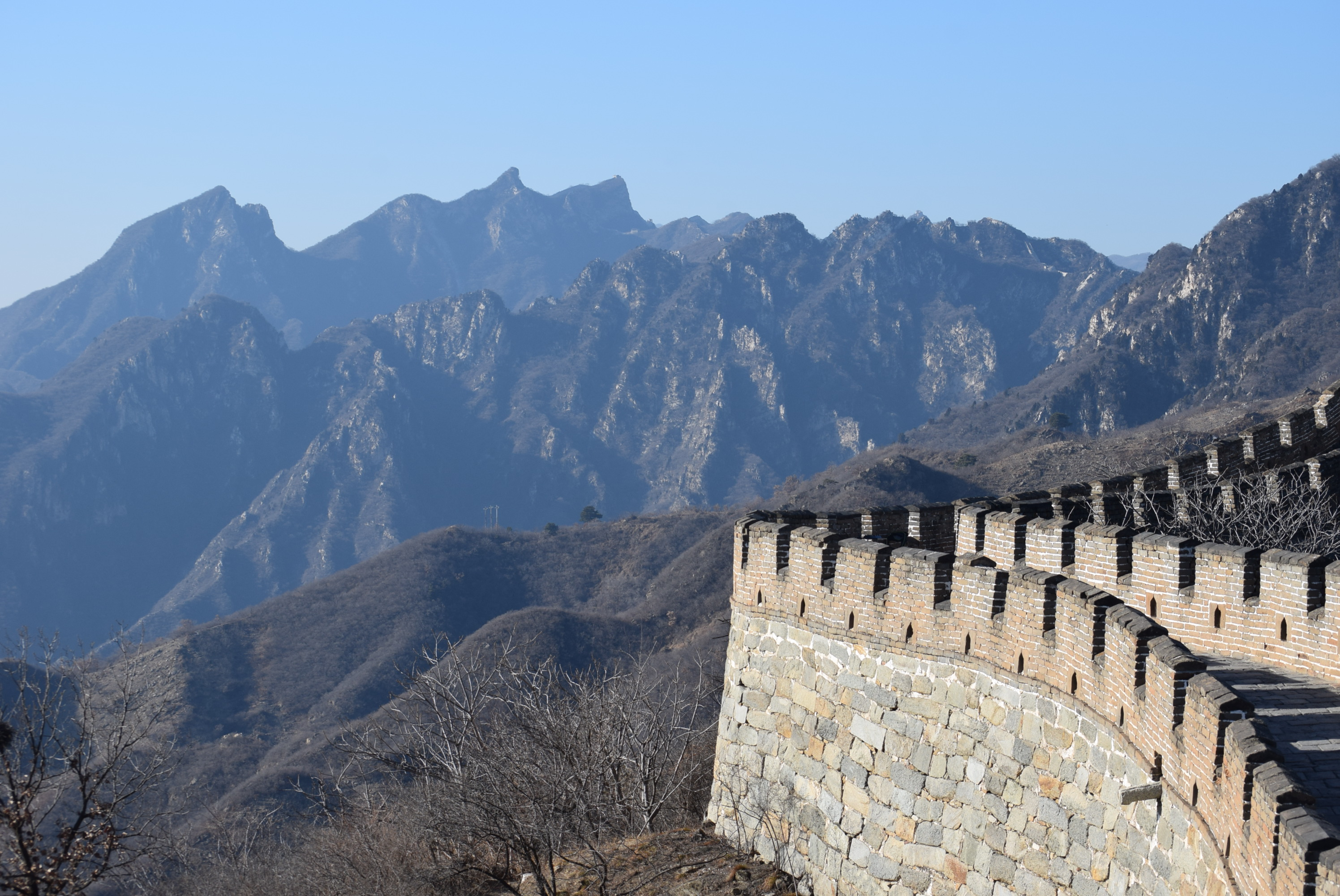 Winter in Great Wall of China with Toddler