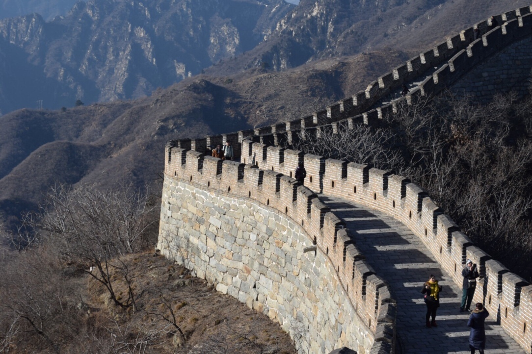 great wall of china in winter with toddler