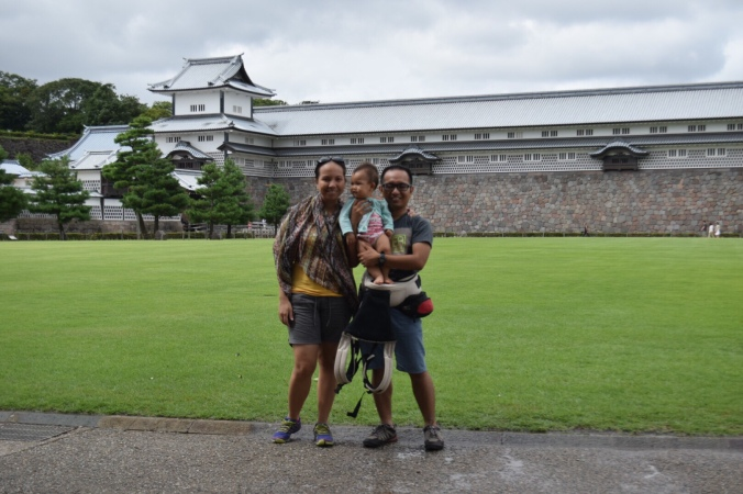 Kanazawa castle Japan with baby